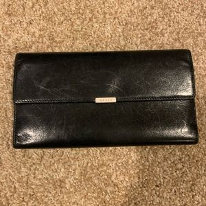 Coach Long Trifold Wallet Black Leather